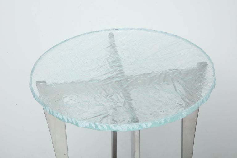 Contemporary Artisan Translucent Glass Top with Curving Steel Base Side Table For Sale