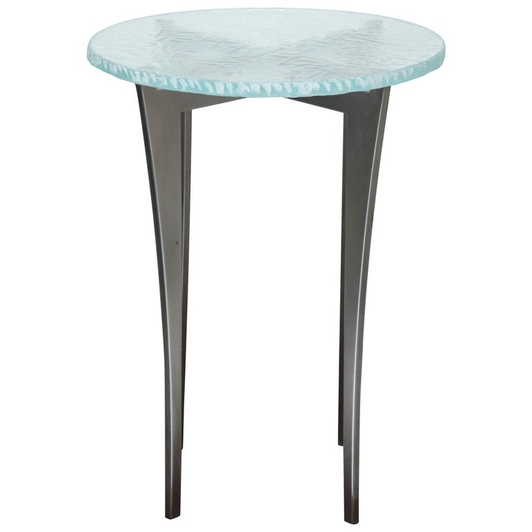 Artisan Translucent Glass Top with Curving Steel Base Side Table For Sale