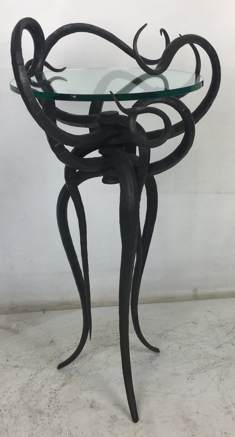 Artisan Wrought Iron Medusa-Like Occasional Table, Signed For Sale 4
