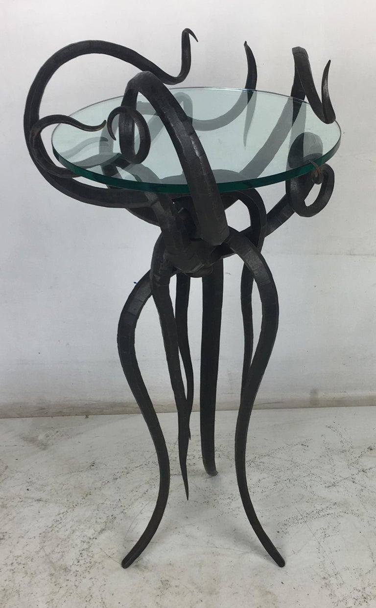 Artisan Wrought Iron Medusa-Like Occasional Table, Signed For Sale 5