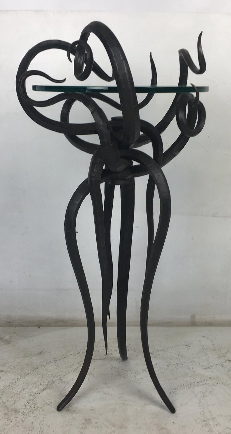 Artisan Wrought Iron Medusa-Like Occasional Table, Signed For Sale 6