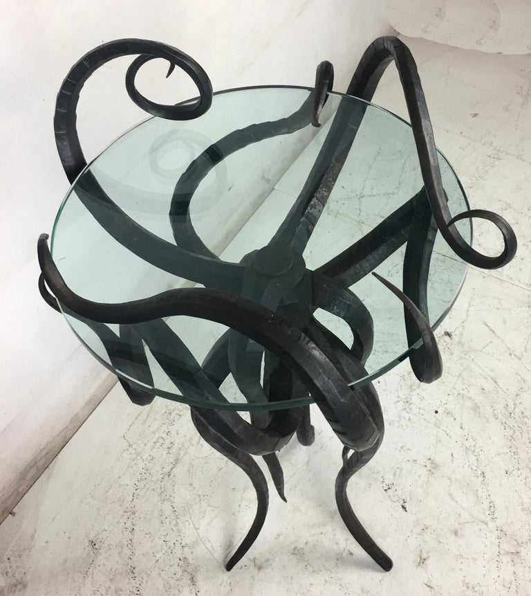 Organic Modern Artisan Wrought Iron Medusa-Like Occasional Table, Signed For Sale