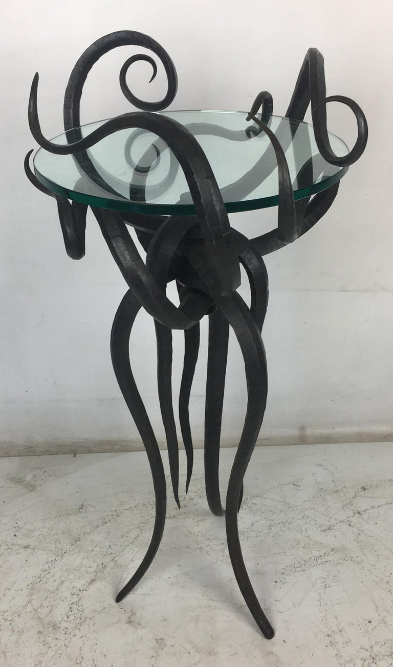 American Artisan Wrought Iron Medusa-Like Occasional Table, Signed For Sale