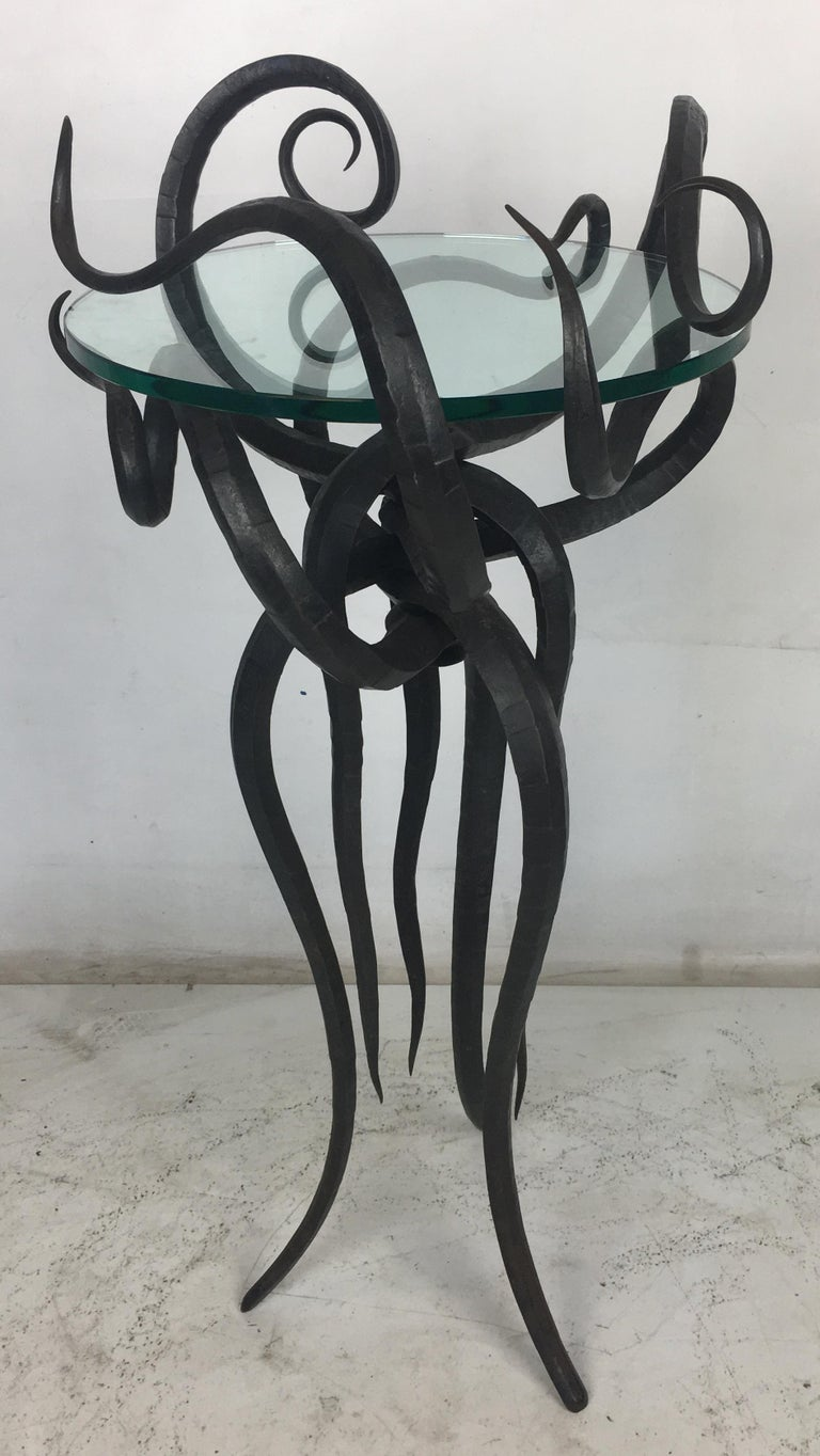 Artisan Wrought Iron Medusa-Like Occasional Table, Signed In Excellent Condition For Sale In San Leandro, CA