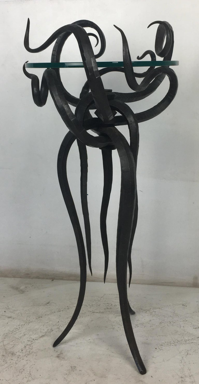 Late 20th Century Artisan Wrought Iron Medusa-Like Occasional Table, Signed For Sale