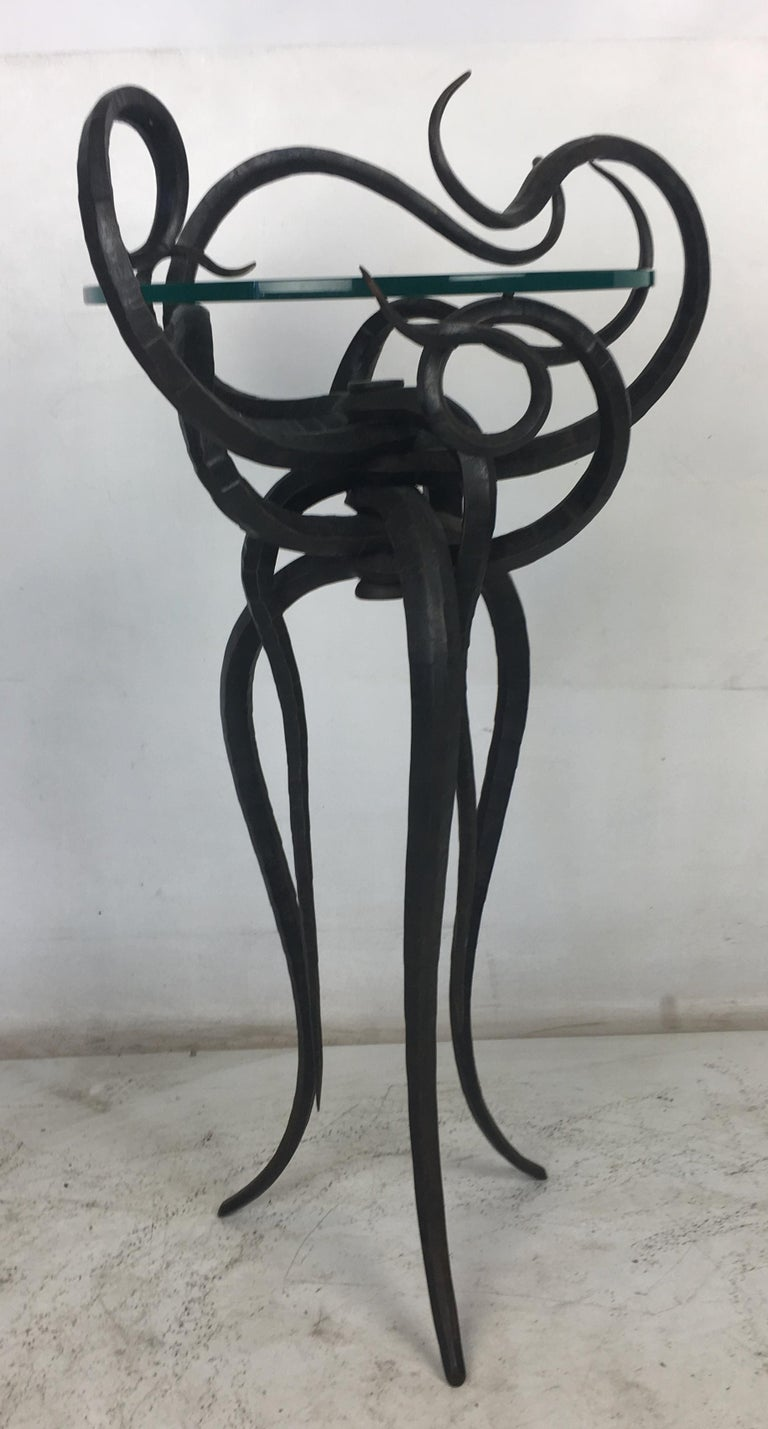Artisan Wrought Iron Medusa-Like Occasional Table, Signed For Sale 2
