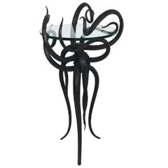 Artisan Wrought Iron Medusa-Like Occasional Table, Signed