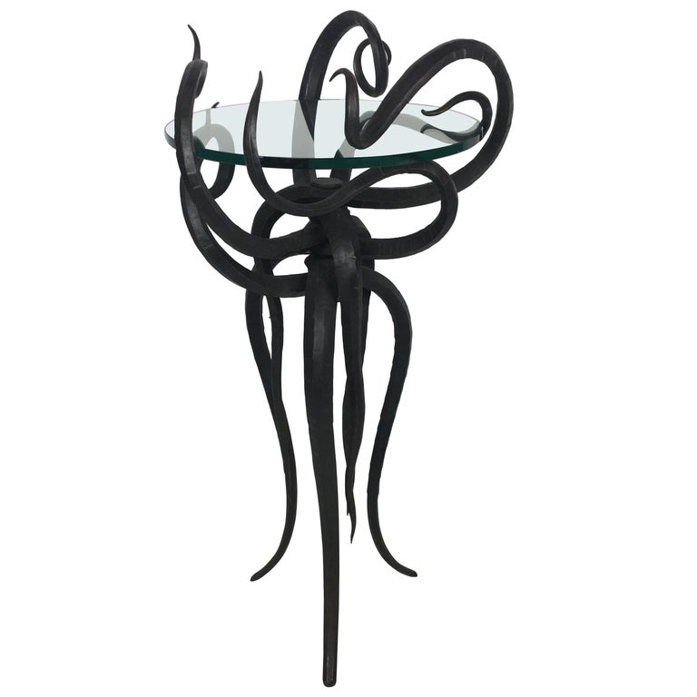Artisan Wrought Iron Medusa-Like Occasional Table, Signed For Sale