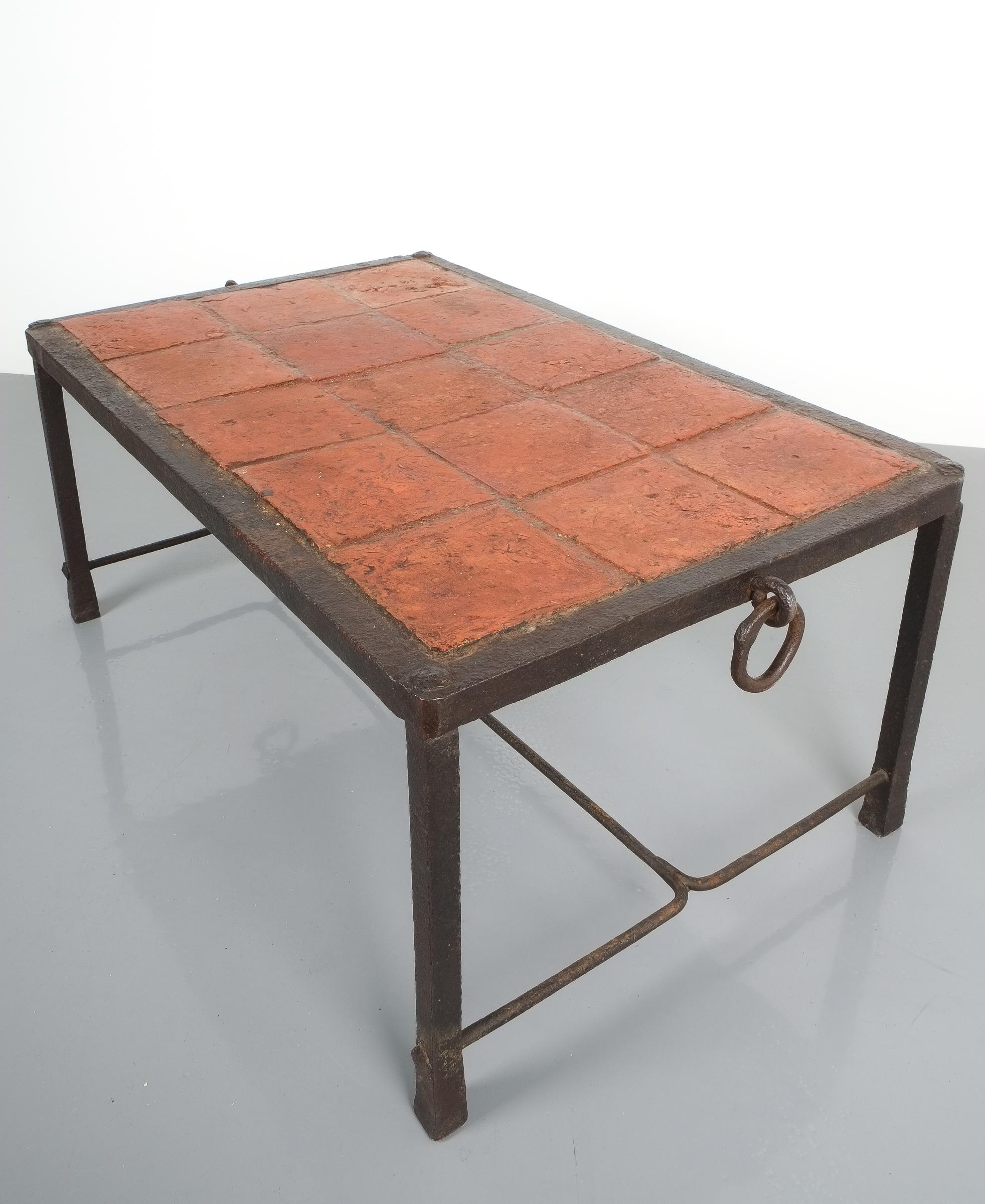 Artisan wrought iron terracotta coffee table france 1950 for sale at 1stdibs