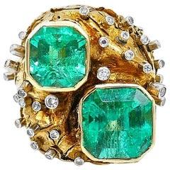 Artisan Yellow Gold Emerald Diamond Cocktail Ring GIA