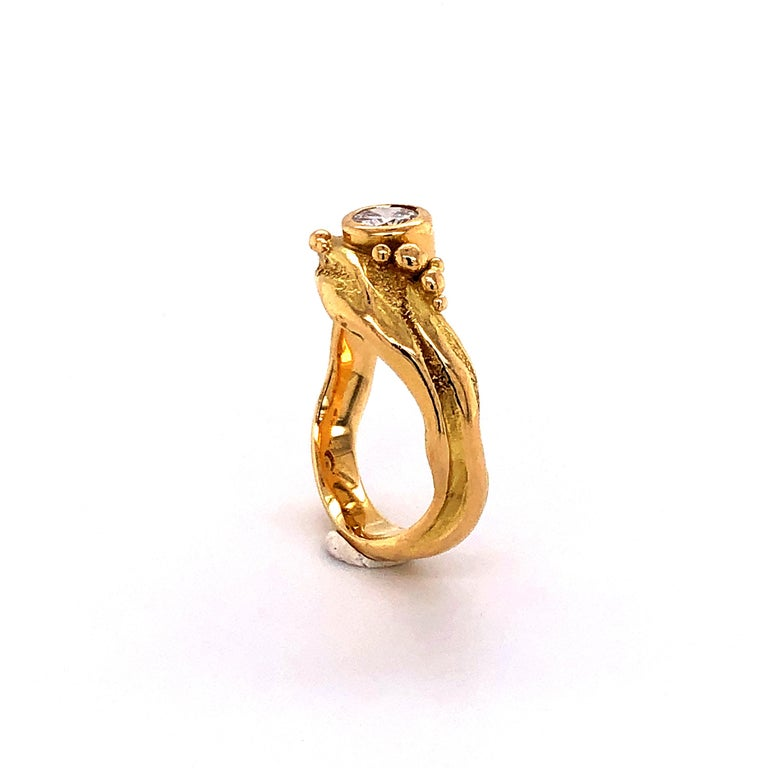 Artisan Yellow Gold Ring with Diamond For Sale 5