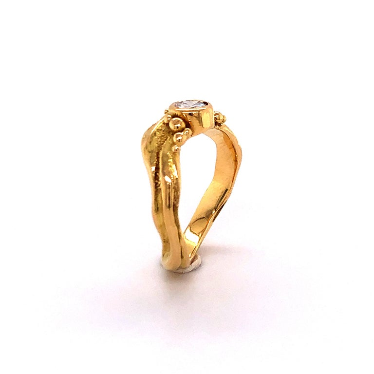 Artisan Yellow Gold Ring with Diamond For Sale 6