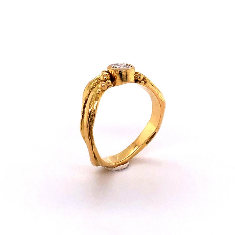 Artisan Yellow Gold Ring with Diamond For Sale 7