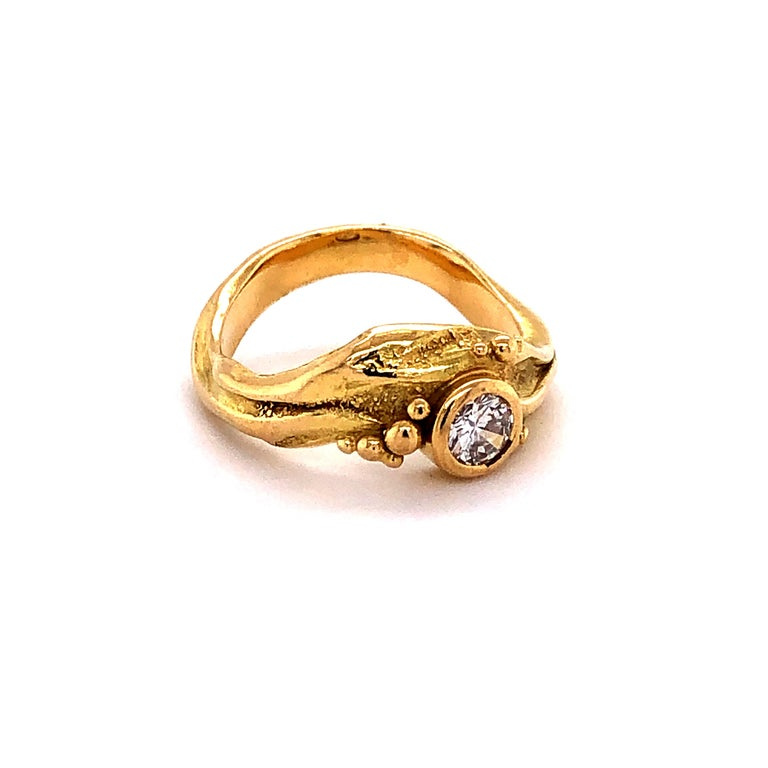 Round Cut Artisan Yellow Gold Ring with Diamond For Sale
