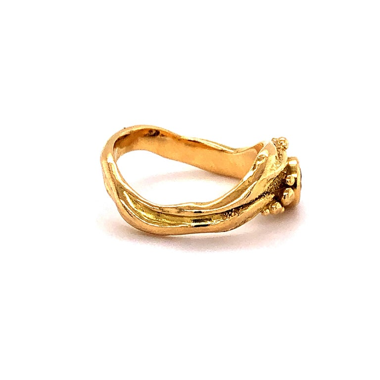 Women's or Men's Artisan Yellow Gold Ring with Diamond For Sale