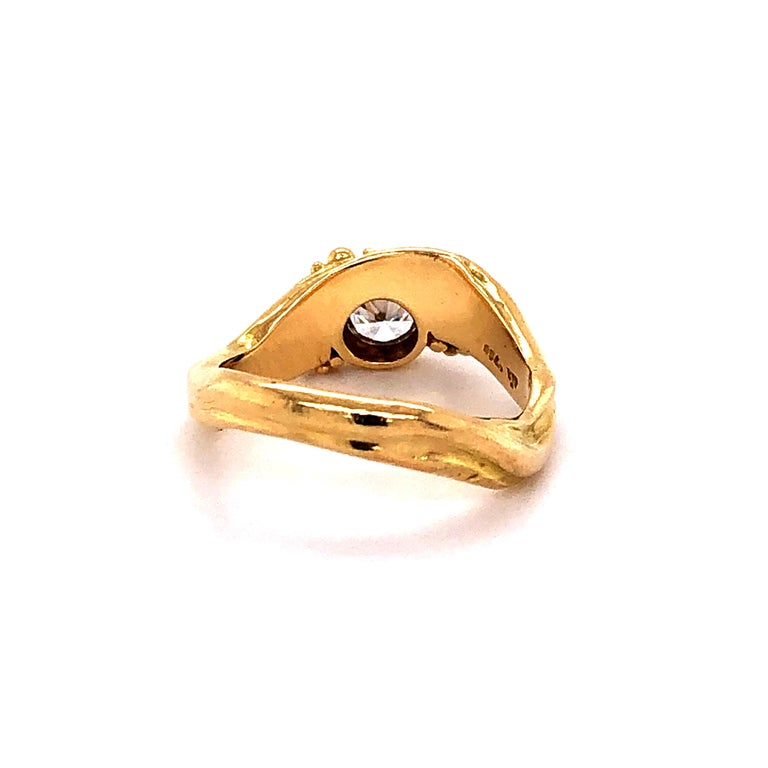 Artisan Yellow Gold Ring with Diamond For Sale 1