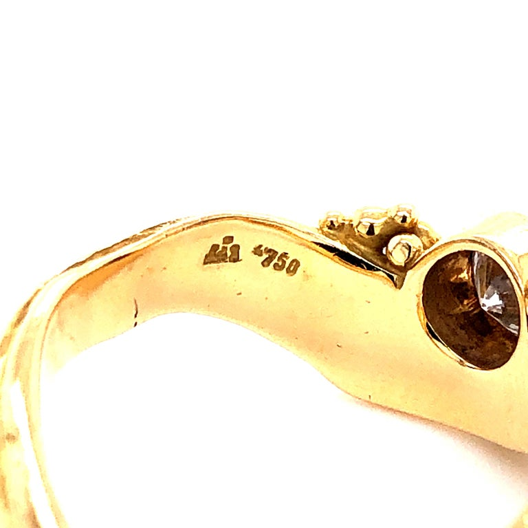 Artisan Yellow Gold Ring with Diamond For Sale 2