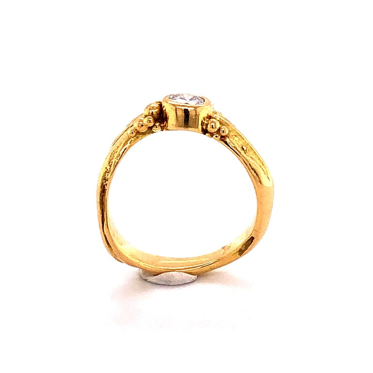 Artisan Yellow Gold Ring with Diamond For Sale 3