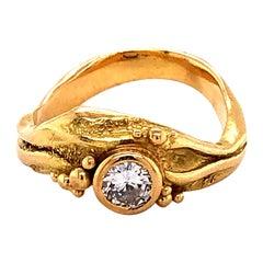 Artisan Yellow Gold Ring with Diamond