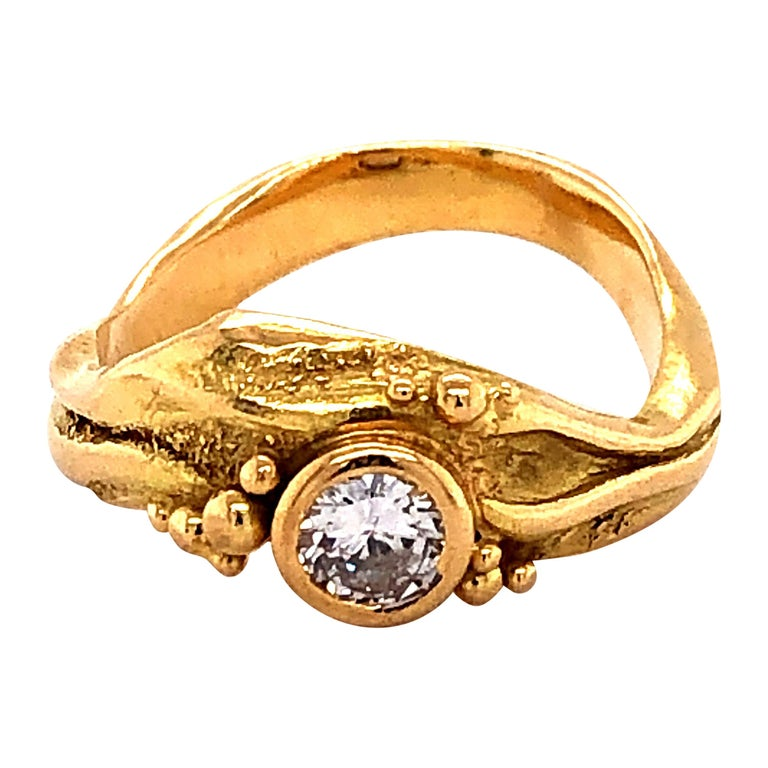 Artisan Yellow Gold Ring with Diamond For Sale