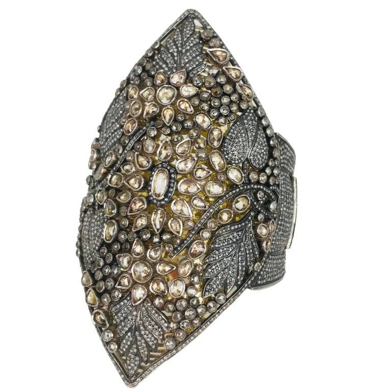 Artisan, 100 Carat Diamond Cognac Vine-Floral, Cuff Bracelet