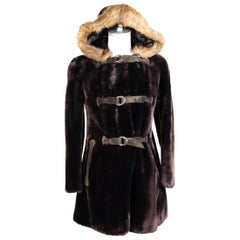 Artisanal Brown Leather Lapin Fur Soft Coat Vintage 1980s