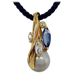 Artisanal De Saedeleer Necklace Tahiti Pearl, 2.44 Ct Sapphire, 1.02 Ct Diamond