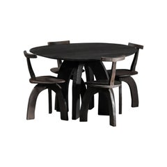 Artisanal Dining Set Round Table and Chairs by Vincent Vincent 80/20 Burnt Wood