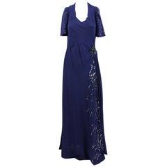 Artisanal Embroidered Dark Blue Evening Dress