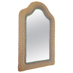 Artisanal Wicker Rattan Midcentury Arched Wall Mirror, 1960s, France