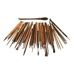 Artisan's Cache 75 Old Chinese and Japanese Paint Calligraphy Bamboo Brushes