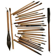 Artisan's Cache of 20 Old Chinese Paint Calligraphy Bamboo Brushes