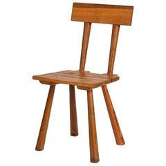 Artisans of Marolles, Rustic Red Oak Side Chair, France, Midcentury