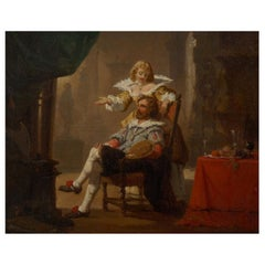 """""""Artist and His Muse"""" '1856' Antique Painting by Hendrik Frans Schaefels"""