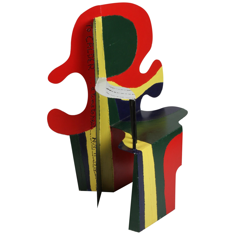 Artist Brother Mel Meyer's Homage to Alexander Calder 11/11/76 Chair Sculpture