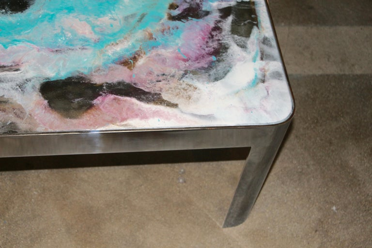 Contemporary Artist Decorated Glass Top Vintage Chromed Steel Base Table For Sale