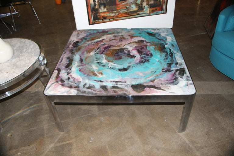 Artist Decorated Glass Top Vintage Chromed Steel Base Table For Sale 4