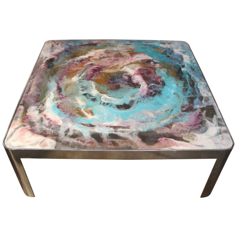 Artist Decorated Glass Top Vintage Chromed Steel Base Table For Sale