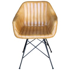 Artist Designed Modern Leather and Iron Box Type Comfortable Bar Chair