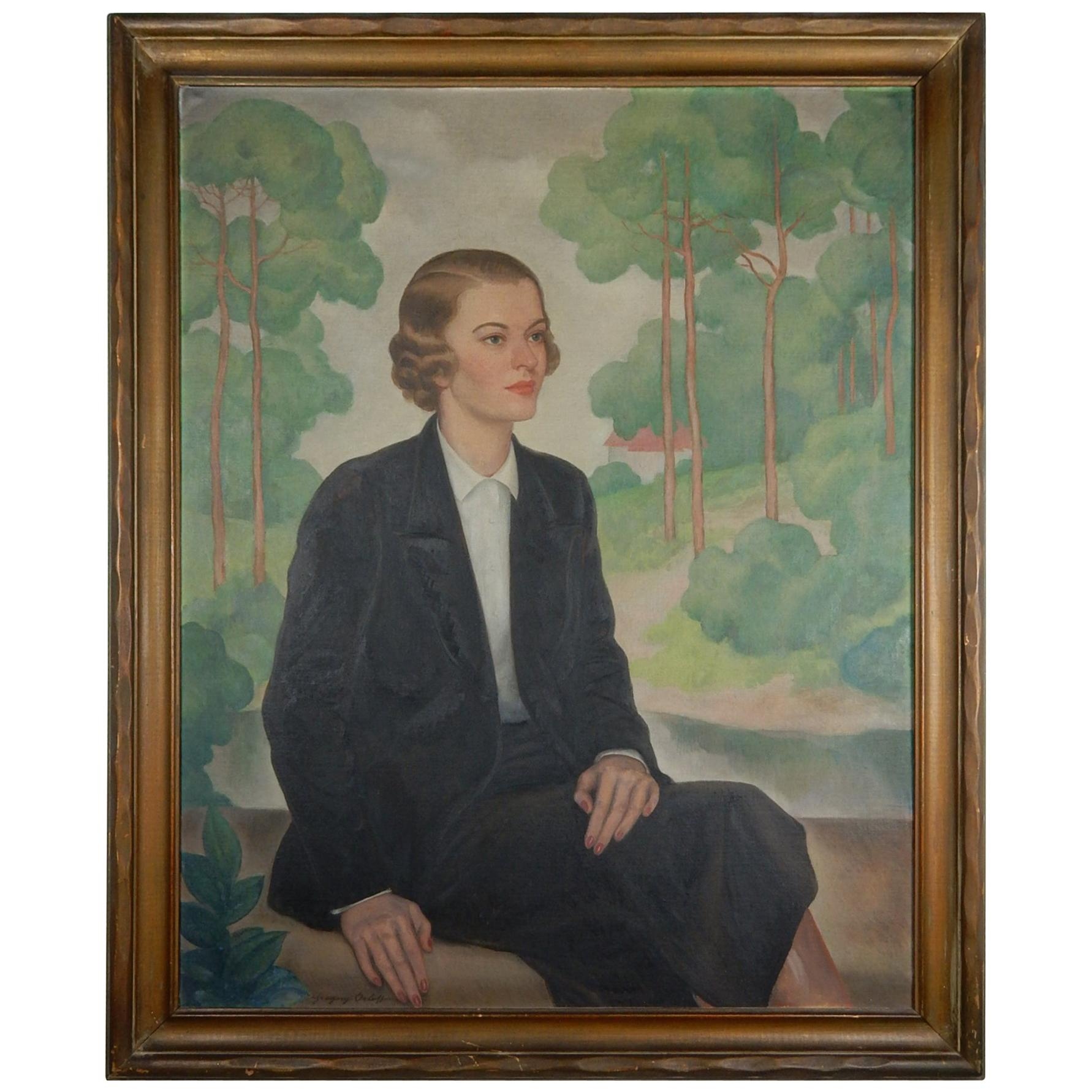 Artist Gregory Orloff (1890-1981) Large Aristocrat Women Portrait Painting
