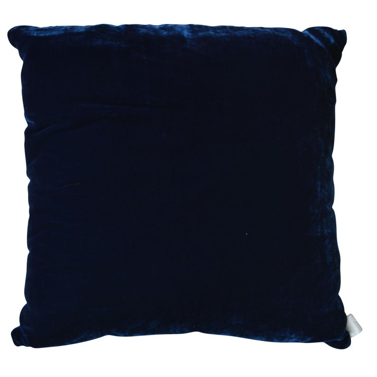 Artisan hand-dyed velvet pillow has a brown on brown front design with a coordinating navy blue back. The new take on the classic grape design was inspired by the artist's walking amongst the vines in the Bordeaux region on holiday. The inserts are