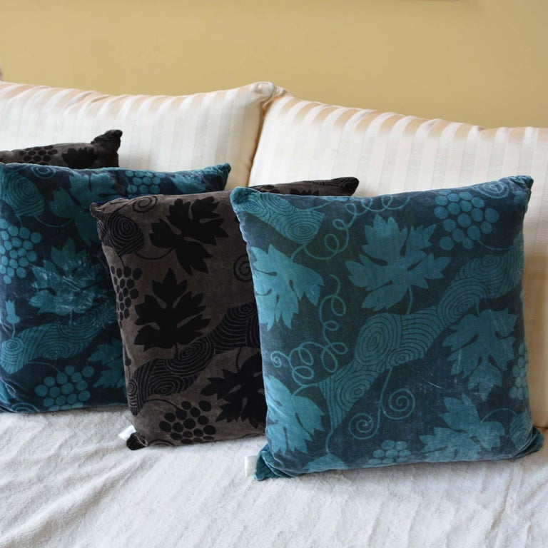 Dutch Artist Hand-Dyed Cushions Brown Front Coordinating Navy Blue Back For Sale