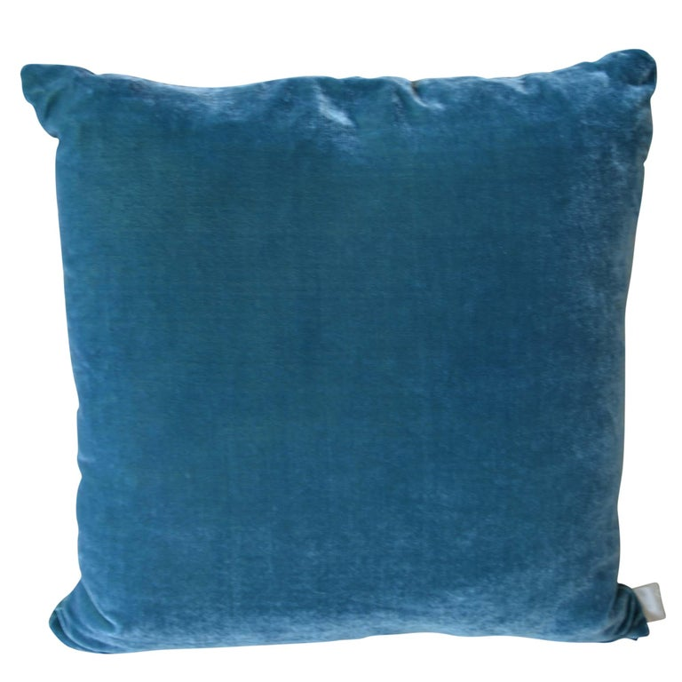 Artisan hand-dyed velvet pillow has a teal front design with a coordinating blue green back. The new take on the classic grape design was inspired by the artist's walking amongst the vines in the Bordeaux region on holiday. The inserts are filled
