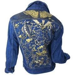 Artist Hand Painted Peace and Love Gold Black OOAK Blue Jean Denim 70s Jacket