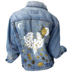 Artist Hand Painted Unisex City of Angels Gold White Vintage Denim Jean Jacket