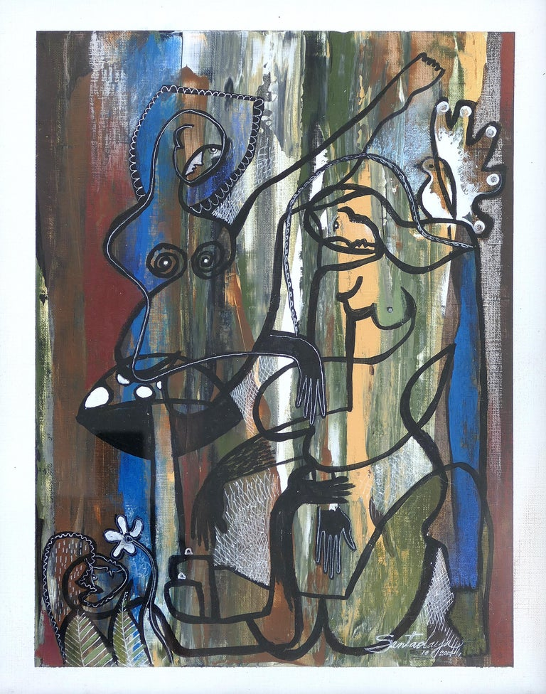 Hiremio Garcia Santaolaya Abstract Painting, Cuban American Art  Offered for sale is an original abstract figurative acrylic painting on paper by Cuban American artist Hiremio Garcia Santaolaya. The artist was born in Havana City, Cuba, in 1961 and