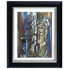 Hiremio Garcia Santaolaya Abstract Painting, Cuban American Art