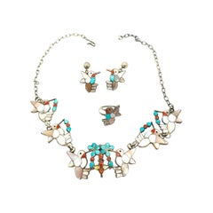 Artist Hummingbirds, Earring Necklace Ring Set, Turquoise and Mother of Pearl