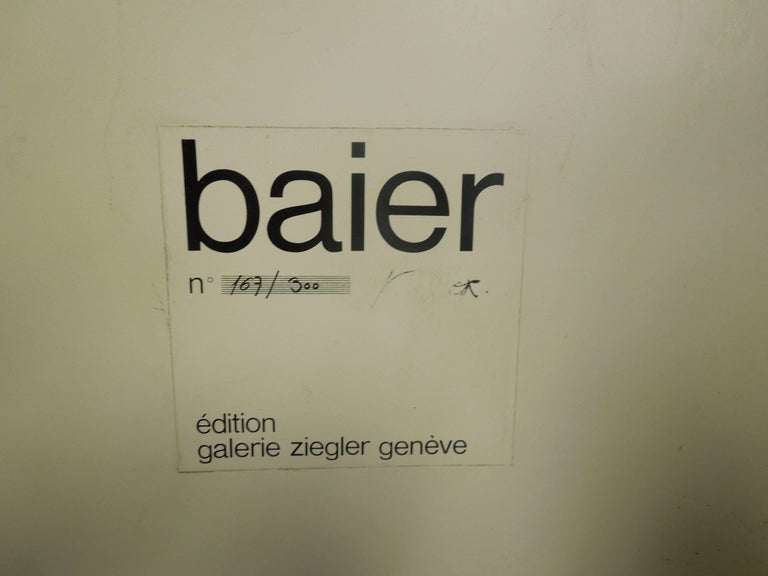 Modern Artist Jean Baier Metal and Wood Abstract, Geneva Gallerie, 1971 For Sale