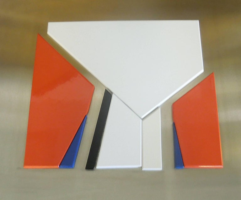 Swiss Artist Jean Baier Metal and Wood Abstract, Geneva Gallerie, 1971 For Sale